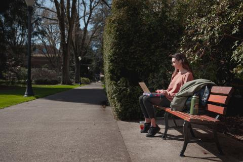 person using laptop outside